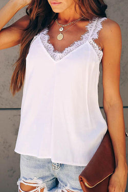 Lace Patchwork V Neck Tank Top