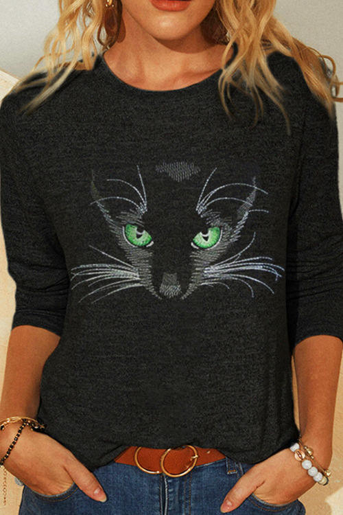 Cat Print Long Sleeve Crew Neck T-Shirt