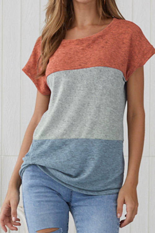 Casual Patchwork Color T-Shirt