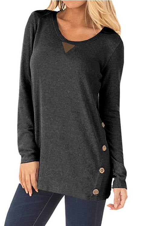 Patched Buttons Long Sleeve T-Shirt