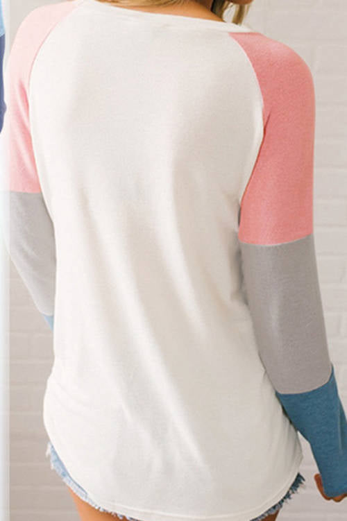 Stitching  Contrast Color Long Sleeve T-Shirt