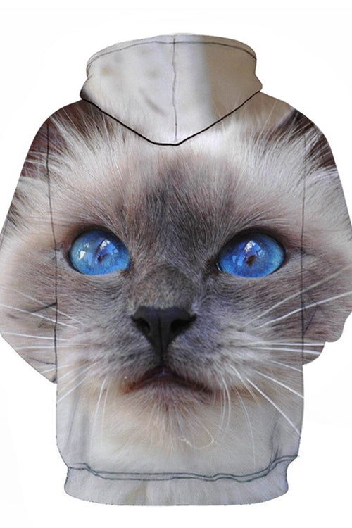 Unisex 3D Graphic Hoodies  Animals Cats Siamese Cats Big Eyes