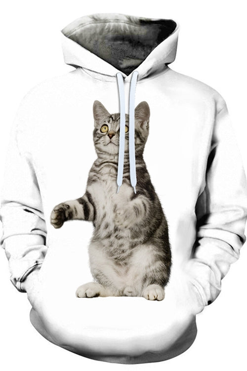 Unisex 3D Graphic Hoodies Animals Cats American Shorthair Standing