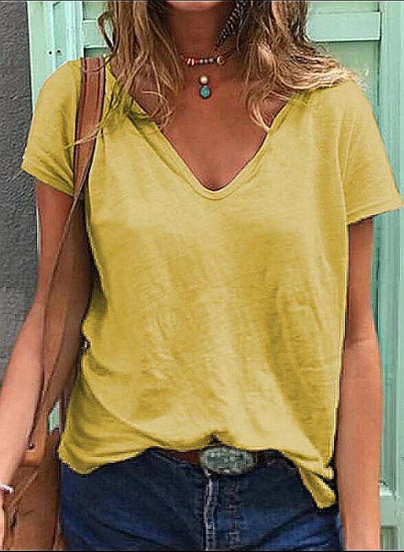 Solid V Neck Casual T-Shirt