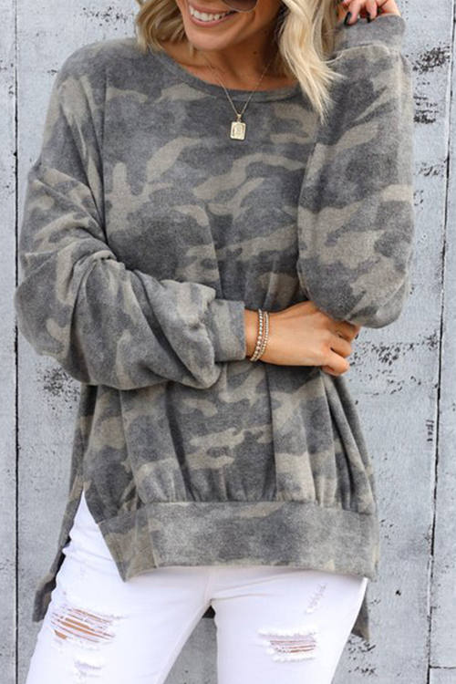 Camo Printed  Long Sleeve T-Shirt