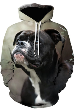 Unisex 3D Graphic Hoodies  Animals Dogs Staffordshire Bull Terrier Look Up