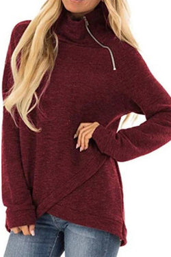 Solid Color  High Collar Zipper  Long Sleeve Hoodie