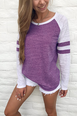 Striped Patchwork Long-Sleeve T-Shirt