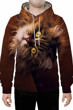 Unisex 3D Graphic Hoodies  Animals Cats Siberian Cat Big Eyes