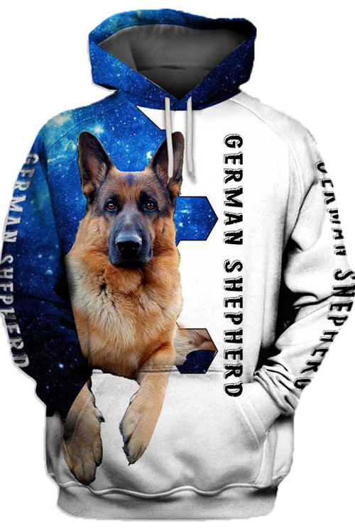 3D Graphic Hoodies Sweatshirts Animals Dog Art German Shepherd Dog 3