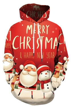 Christmas Party Print Long Sleeve Hoodie