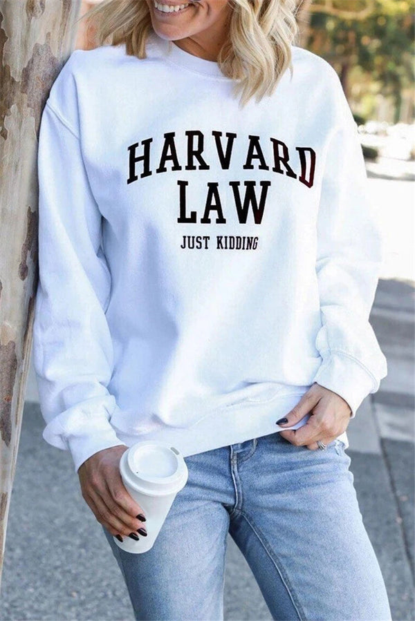 Letter Design White Sweatshirt