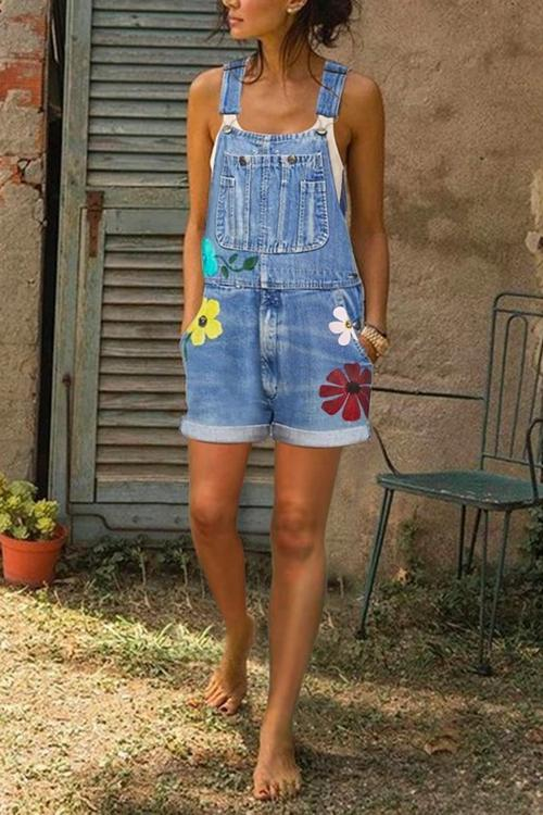 Sleeveless Denim Floral Floral-Print shorts One-Pieces