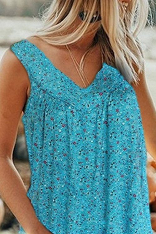 Printed Floral Sleeveless Tank Top