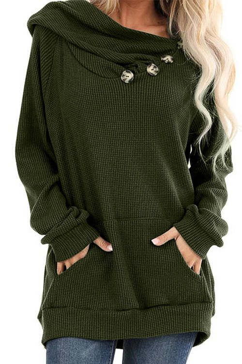 Solid Color Loose Fitting Long-Sleeved Hoodie