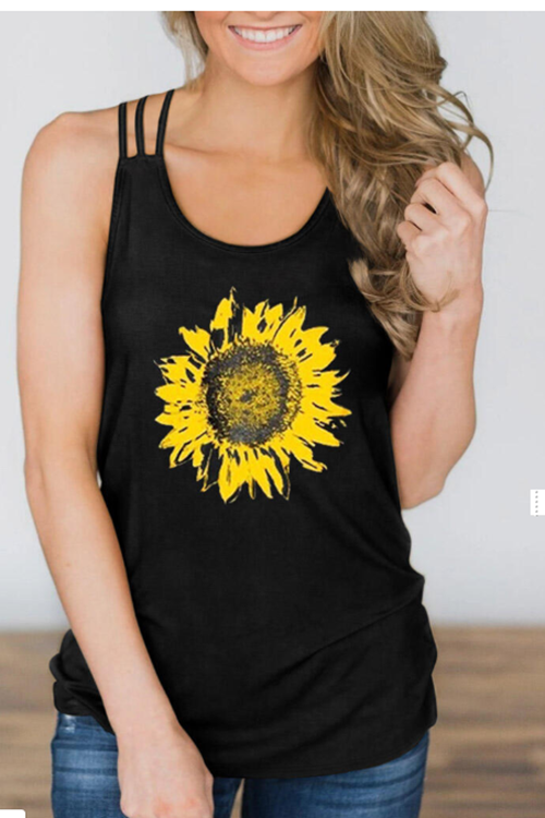Presale - Sunflower Criss-Cross Hollow Out Tank Top