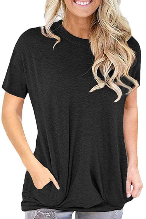 Plain Colour Loose-Fitting Short Sleeves T-Shirt