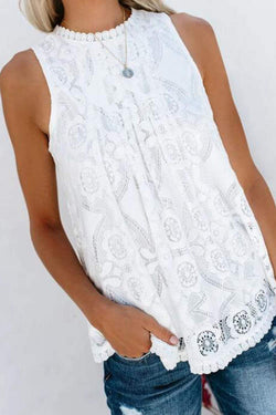 Solid Fashionable Lace Patchwork  Tank Top