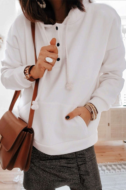 Solid Color Hooded Drawstring Button Pocket Sweater