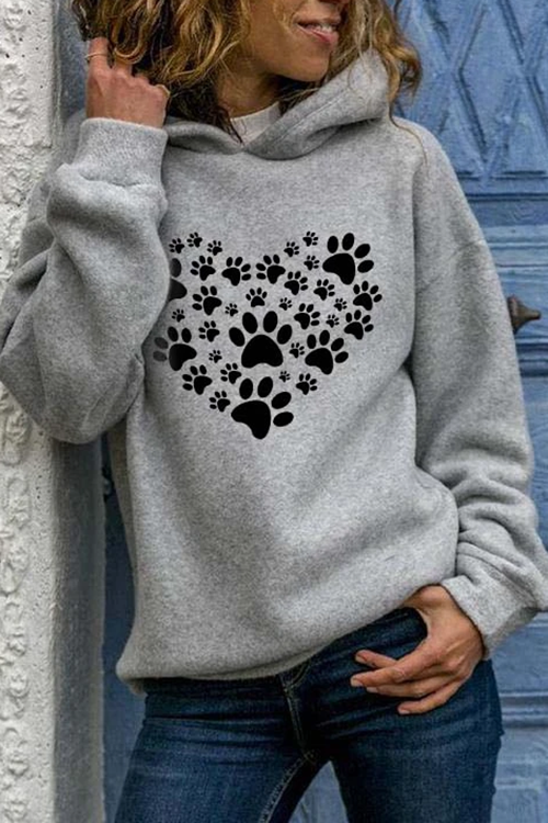 Heart-shaped print long-sleeved hooded Hoodie