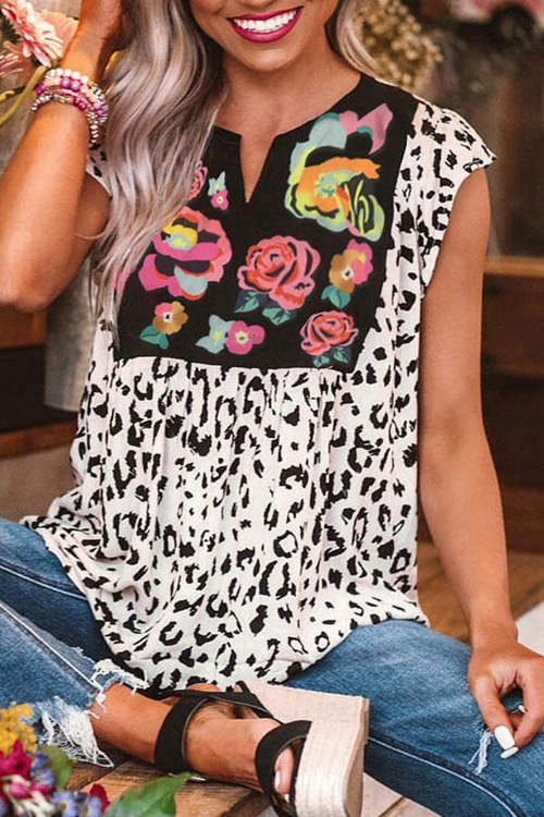 Floral  Feopard Print Collared Casual T-Shirt