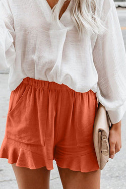 Solid Color High Waist Pleated Loose Straight Pants