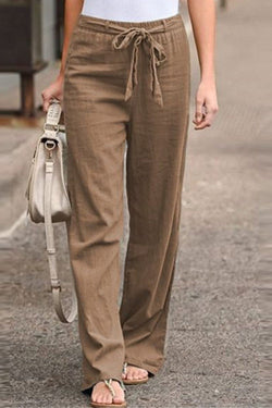 Summer  Elastic Waist Solid Color Cotton Linen Trousers