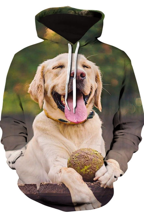 3D Graphic Hoodies  Animals Dogs Labrador Laughing
