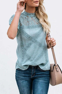 Geometry Lace Patchwork Round Neck T-Shirt