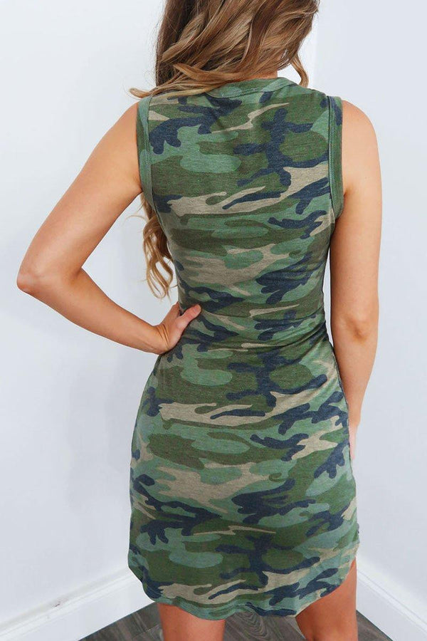 Camouflage Printed Waist Knot Design Mini Dress