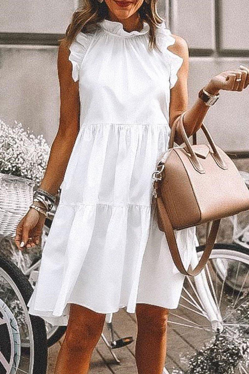 Flounce Design Sleeveless Mini Dress (5 Colors)