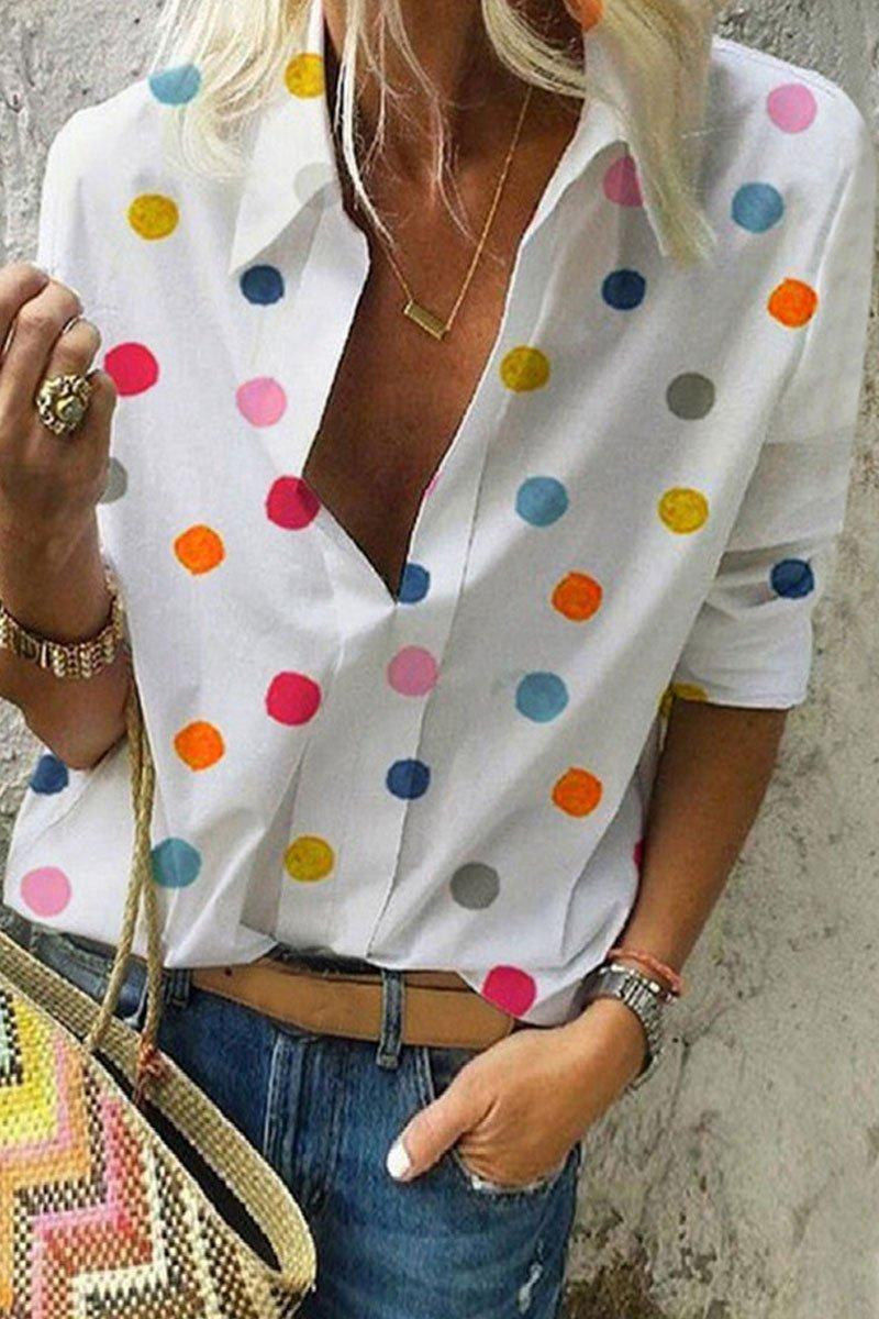 Multicolor Dot Printed White Shirts (4 Colors)