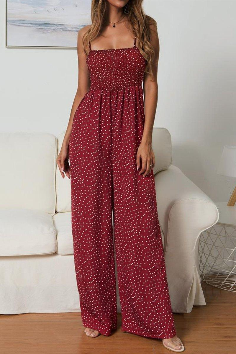 Dot Printed Wine Red One-piece Jumpsuit