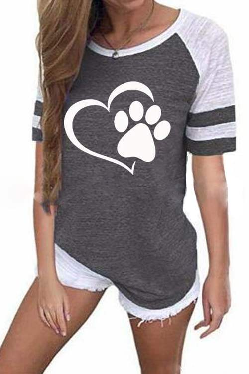 Heart Print Contrast Stripe Short Sleeve T-Shirt