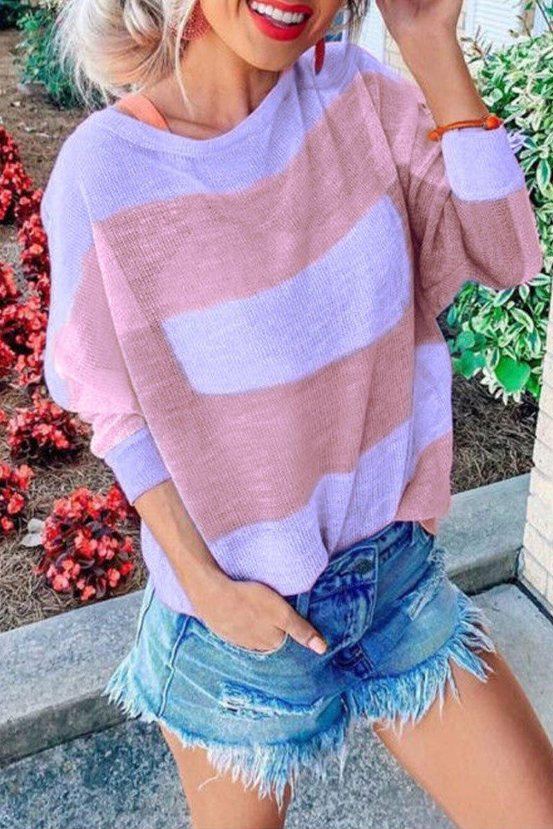 Color Block Striped Long Sleeve T-Shirt