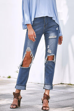 Casual Hollow-out Blue Jeans