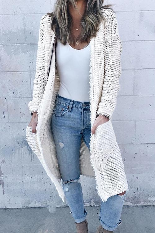 Casual Tassel Design White Cardigan