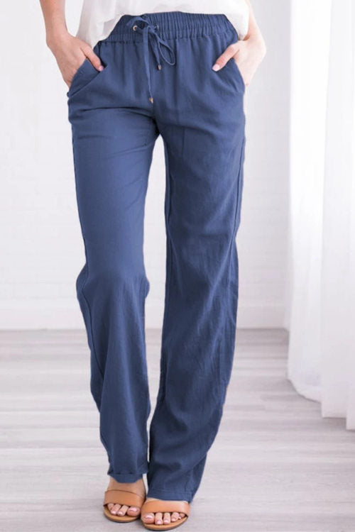Solid Color  Wide-Leg Pants