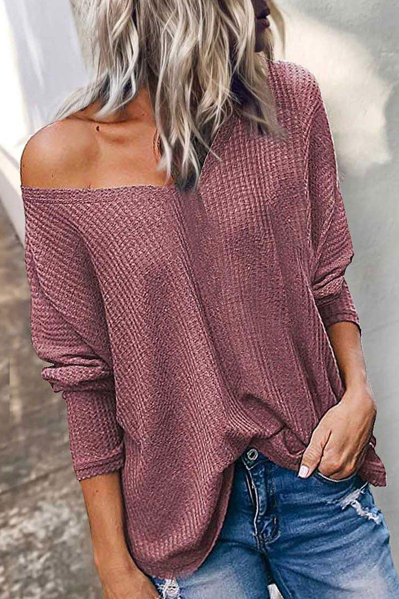 Casual V Neck Dull Red Long Sleeve Blouse