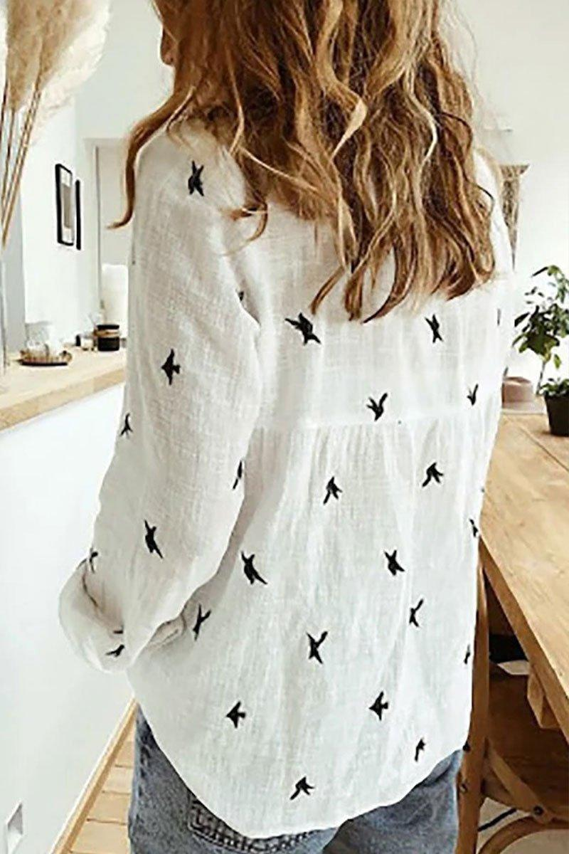 Printed White Long Sleeve Shirt(4 colors)