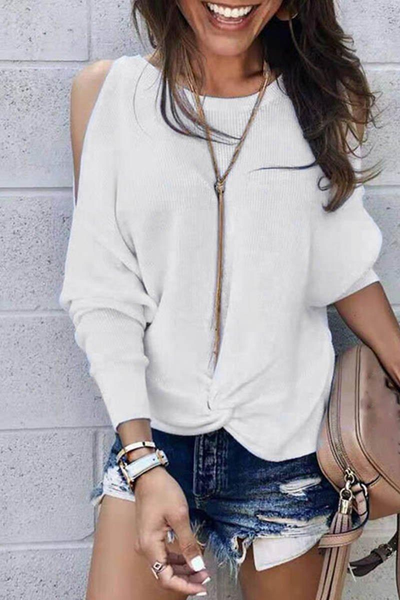 Casual O Neck Hollow-out White Sweater