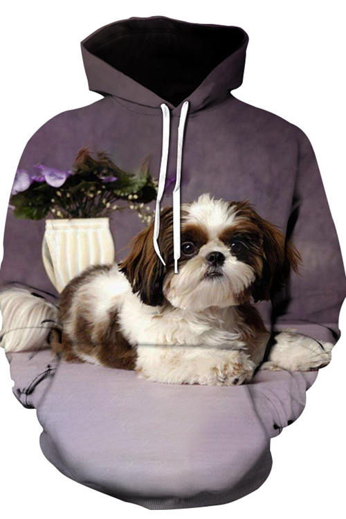 3D Graphic Hoodies Animals Dogs Shih Tzu Puppies