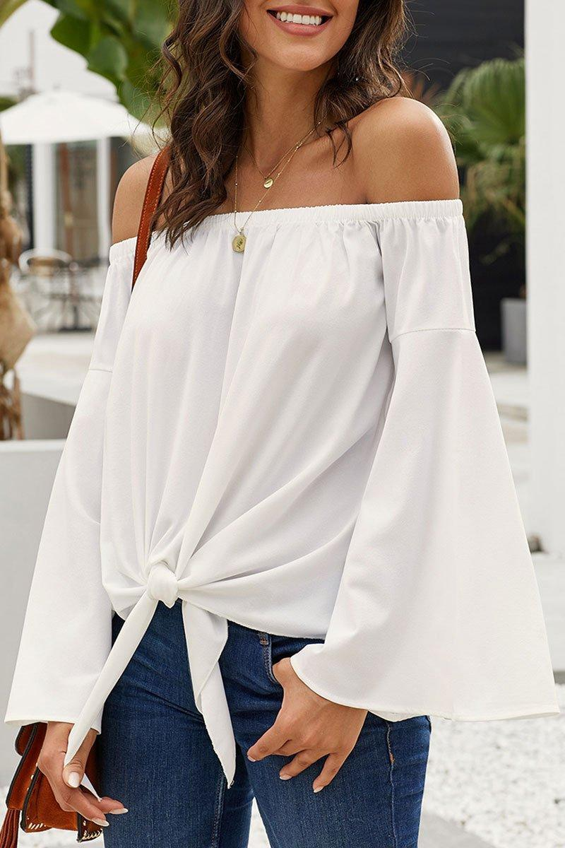 Dew Shoulder Knot Design White Blouse