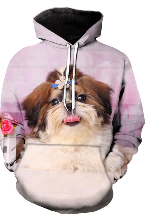 3D Graphic Hoodies Animals Dogs Cute Shih Tzu