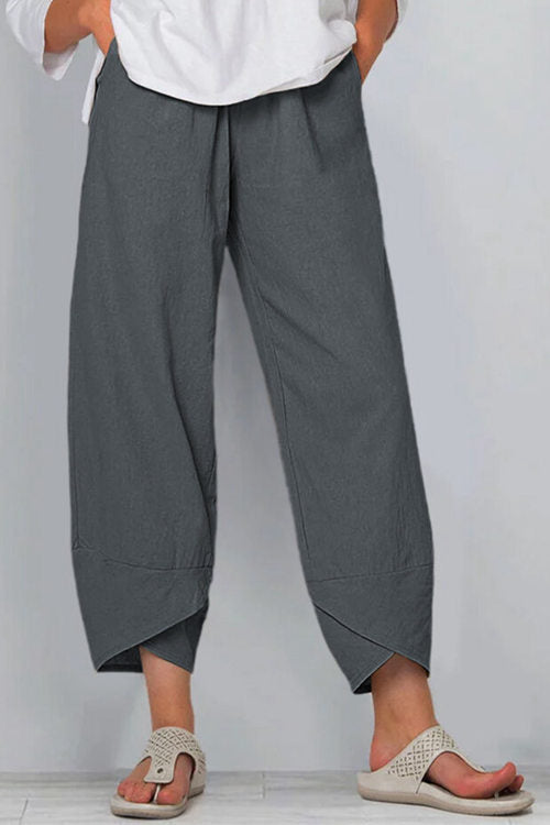 Cotton  Linen Elastic Waist Nine - Minute Trousers