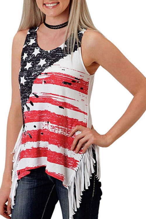 Flag Print Fringe SleevelessTank Top