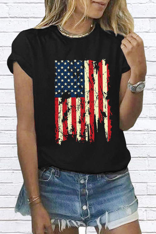 Flag Printed Short Sleeves T-Shirt