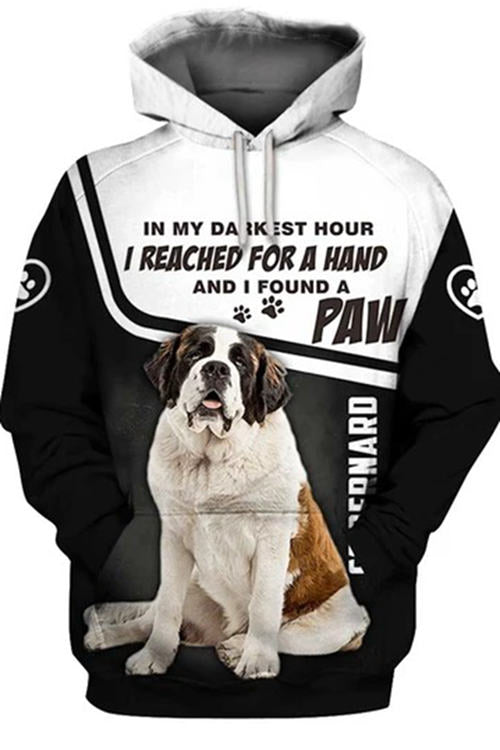 3D Graphic Hoodies Animals Dogs Art St. Bernard Paw