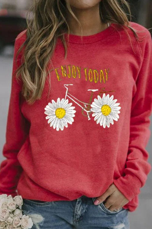 Printed Long Sleeve Round Neck T-Shirt