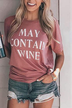 MAY CONTAIN WINE  Short Sleeves T-Shirt